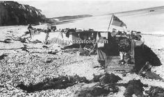 Shows Canadian ships and soldiers killed on the beaches during the Dieppe raid