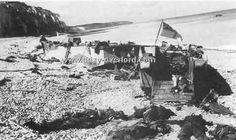 Corps et épaves sur la plage de Dieppe après le déroulement de l'Opération Jubilee 1942