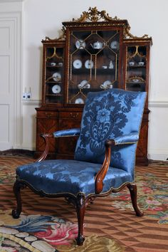 Chippendale chair covered in blue damask woven in pure silk for the Blue Drawing Room at Dumfries House. Wingback Accent Chair, Upholstered Chairs, Accent Chairs, Dining Room Table Chairs, Living Room Chairs, Side Chairs, Chair Drawing, Drawing Room, Dumfries House