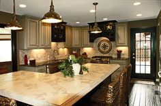Concrete Kitchen Countertop...made to look like natural stone.