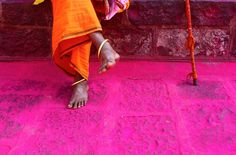 Vermilion dust scattered in an Indian temple