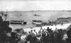 Australian 4th Battalion landing at ANZAC Cove 35 April 1915 | ANZAC Cove is a small cove on the Gallipoli peninsula in Turkey. It became famous as the site of World War I landing of the ANZAC (Australian and New Zealand Army Corps) on 25 April 1915. The cove is a mere 600 metres (2,000 ft) long. Following the landing at Anzac Cove, the beach became the main base for the Australian and New Zealand troops for the eight months of the Battle of Gallipoli.