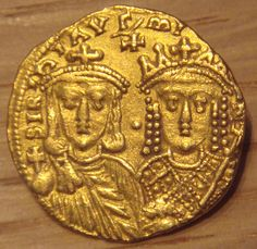 Constantine VI and Irene 780 790 gold coin
