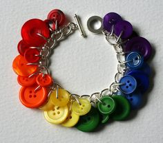Rainbow Gay Pride Button Charm Bracelet by Mrs Gibson on Etsy.