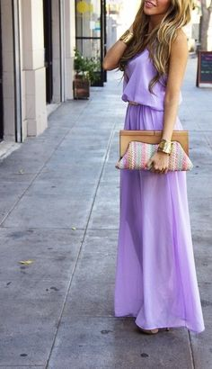 lavender maxi dress with colorful stripes clutch