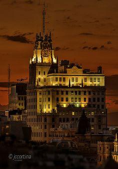 Ocaso en el Edificio de Telefónica de Madrid