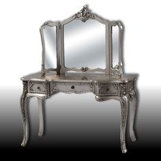 Yvette Antique Silver Dressing Table and 3 Fold Mirror Set Table - Furniture - Home Decor