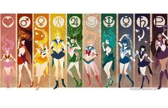 Sailor Moon and the Sailor Scouts! Sailor Pluto, Sailor Jupiter, Sailor Neptune, Sailor Venus, Sailor Mars, Sailor Moon Crystal, Cristal Sailor Moon, Arte Sailor Moon, Sailor Moon Fan Art