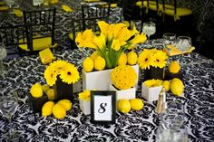 Black Green White Yellow Centerpiece Wedding Flowers Photos & Pictures - WeddingWire.com