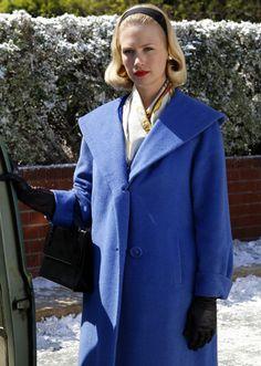 Betty Draper's blue coat on Mad Men.  Outfit Details: http://wornontv.net/5704/ #MadMen