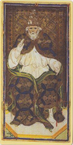 The Hierophant -- Pierpont Morgan Visconti Sforza Tarocchi Deck, Italy, Milan, ca. 1450