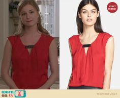 Emily's red top with black keyhole detail on Revenge. Outfit Details: http://wornontv.net/25613 #Revenge #fashion