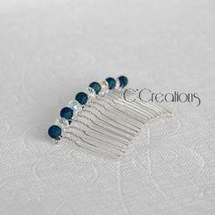 Peigne pour cheveux, cristal et perles coloris bleu nuit