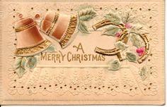 Reliëf vintage Klokken Kerst Postkaart met deur OldFangledFinds......................................LB XXX
