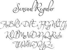 Sensual Regular font - an graceful, deliciously insouciant calligraphic script from Corradine Fonts. Ideal for invitations, greeting cards, logotypes, or anywhere a touch of elegance is desired.