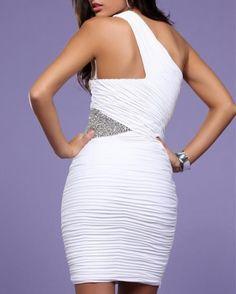 2011 Style Sheath / Column One Shoulder Ruffles  Sleeveless Short / Mini  Chiffon Black Cocktail Dress / Homecoming Dress