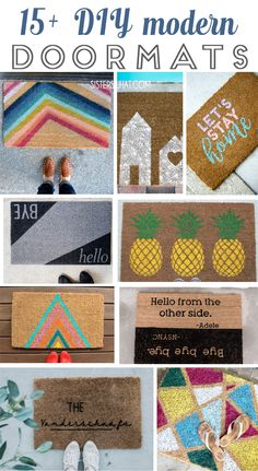 a fun modern door mats for front porch decor curb appeal. Easy DIY welcome mats for front porch. Modern Doormats, Welcome Stencil, Minimalist Home Interior, Bee Crafts, Decor Crafts, Diy Vanity, Personalized Door Mats, Welcome Mats, Porch Decorating