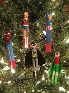 Super Heros wooden clothes pin ornaments