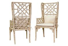 Bamboo Wingback Chairs, Pair