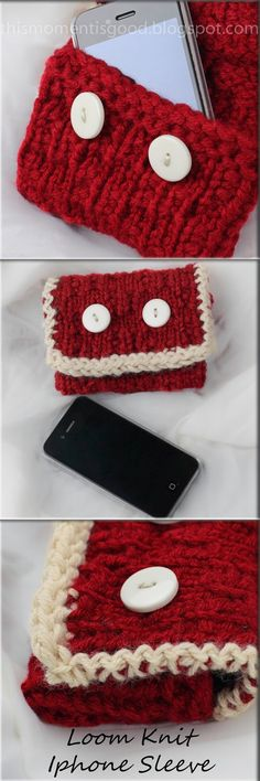 FREE LOOM KNIT IPHONE SLEEVE PATTERN...Many more free loom knitting patterns on this blog!