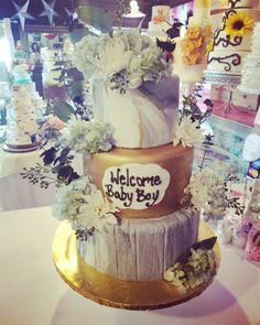 Rustic chic baby shower cake #carinaedolce www.carinaedolce www.facebook.com/carinaedolce Welcome Baby Boys, Chic Baby, Rustic Chic, Baby Shower Cakes, Facebook