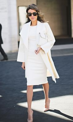 White midi pencil dress | White coat | White clutch
