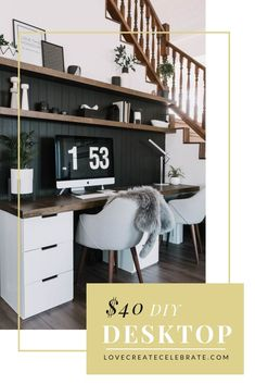 A great tutorial sharing how to make your own easy & affordable DIY Wood Desktop and matching floating shelves! Finish your desk off with this sleek design! Wood Pallet Furniture, Furniture Projects, Diy Furniture, Diy Projects, Furniture Plans, Furniture Making, Project Ideas, Interior Design Photos, Office Interior Design