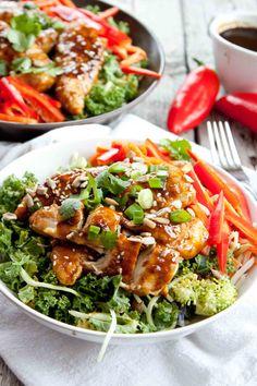Sticky Sesame Chicken Salad | simplerootswellness.com