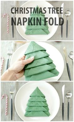 DIY Christmas Tree Napkin Fold Tutorial ~ Add a festive touch to your Christmas Table with these Christmas Tree Napkins! Christmas Tree Napkin Fold, Diy Christmas Tree, Christmas Projects, All Things Christmas, Winter Christmas, Christmas Time, Christmas Decorations, Xmas Tree, Christmas Images