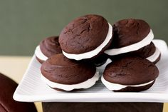 We prefer Droste brand Dutch-process cocoa for this recipe because it gives the cakes a richer chocolate flavor. Though whoopie pies can be served on the same day they're made, we think the cakes are much better a day after baking.