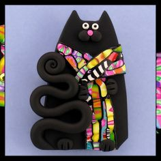 Black Cat & Stroppel Cane Scarf By artsandcats