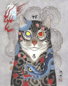 ศิลปินชาวญี่ปุ่นชื่อนาย Horitomo หรือที่ใช้ชื่อว่า Monmon cats หยิบเอาลายสักแบบญี่ปุ่นไปใส่ให้เจ้าแมวเหมียวซะอย่างกับเป็น แมวยากูซ่า ไปเลย
