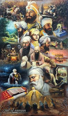 This remarkable artwork captures all the Sikh Gurus and many of the historic events that have occurred throughout Sikhi. Painted by Raman Singh, painter of expression and soul, it brings a beautiful and elegant artistic painting style that capture. Guru Nanak Photo, Guru Nanak Ji, Nanak Dev Ji, Sikh Quotes, Gurbani Quotes, Holy Quotes, Punjabi Quotes, Hindi Quotes, Funny Quotes