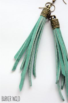Aqua suede leather tassle bronze boho tribal earrings tassel earings | Barker Wild | madeit.com.au