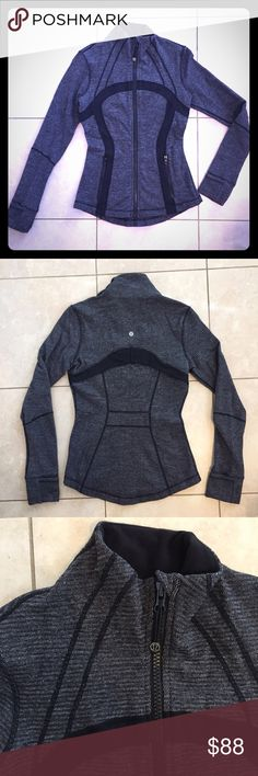 RARE! Define Jacket RARE Beautiful heathered black and charcoal grey. Only worn a few times. Great for running. Vent in back. Thumbholes and fold over cuff to keep your hands warm. lululemon athletica Jackets & Coats