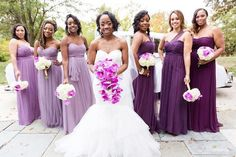 Morning! These shades of #purple tie in well with the brides #bouquet.  #munabridesmaids |  #Repost @favoredbyyodit  Pretty in #Purple  These @jennyyoonyc #bridesmaid #dresses completed our brides @amsalebridal perfectly! #wedding #dcbride #bridesmaid #love #dcwweddings #favoredbride #blackbride #munaluchibride  #munabridesmaids #purpleweddings #love #munacoterie