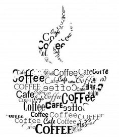 coffee words.. making up steaming cup of coffee!