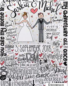 • Saskia & Michel • ©️ 💗👰🏼🤵🏻💗 Gisteren trouwden Michel & Saskia! Als aandenken aan deze bijzondere dag vroegen ze mij een poster te maken. Maar dat niet alleen.. ze vroegen me ook 14 miniposters te ontwerpen voor hun liefste familieleden en vrienden om hen te bedanken voor hun aanwezigheid. Zo tof dat ik dit voor ze mocht doen! Ik heb genoten van deze opdracht!❤️ De komende dagen zal ik steeds een paar posters posten die ik maakte voor de bruiloft van Saskia & Michel. Dus jullie gaan… Anniversary Cards, Doodles, Wedding Inspiration, Bullet Journal, Gifts, Instagram, Quotes, Goku Drawing, Lyrics