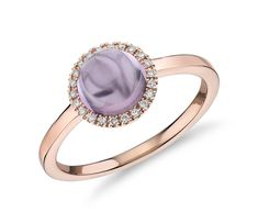 The soft, lustrous color of this round-cut amethyst cabochon is accentuated by a dazzling diamond halo and a gleaming rose gold setting. Colored Engagement Rings, Popular Engagement Rings, Beautiful Engagement Rings, Rose Gold Engagement Ring, Designer Engagement Rings, Vintage Engagement Rings, Purple Rings, Pink Agate, Halo Diamond