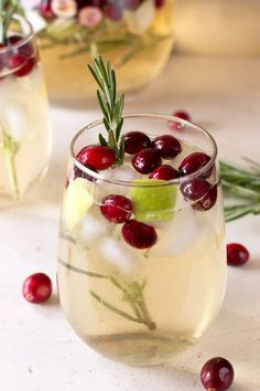 Christmas Sangria - pinot grigio, sparkling apple cider, sugar, cranberries, granny smith apple, fresh rosemary