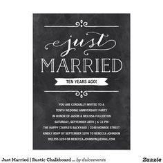 Just Married | Rustic Chalkboard Anniversary Party 5x7 Paper Invitation Card