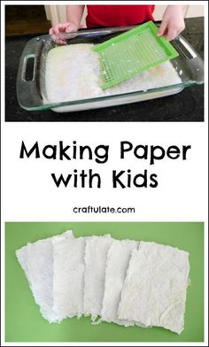 Paper with Kids - an educational activity with lots of fun variations! Making Paper with Kids - an educational activity with lots of fun variations!Making Paper with Kids - an educational activity with lots of fun variations! Preschool Science, Science Experiments Kids, Science For Kids, Science Projects, Art For Kids, Summer Science, Science Art, Physical Science, Science Chemistry