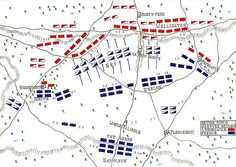 Layout showing the positions of British and Napoleon's forces at the Battle of Waterloo at 5.30pm : Ney launches the French cavalry.