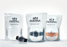 Packaging design Festina water filled packaging