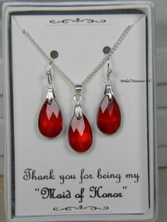 Red / Silver Bridesmaids Teardrop Necklace Set, Red Bridesmaid Gift Set, Red Earrings, Personalized Note, Red Wedding - GS1 by BridalTreasures4U on Etsy