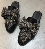 new fashion bling bling crystal embellished flat shoes 2017 big butterfly-knot woman slippers black leather casual shoes Big Butterfly, Smoking Slippers, Flat Shoes, Women's Shoes, Shoes 2017, Boutique Stores, Shoe Shop, Womens Slippers, Bling Bling