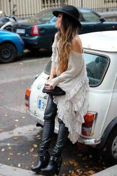 Love that sweater shrug thing with gorg ruffles!!!!!!!
