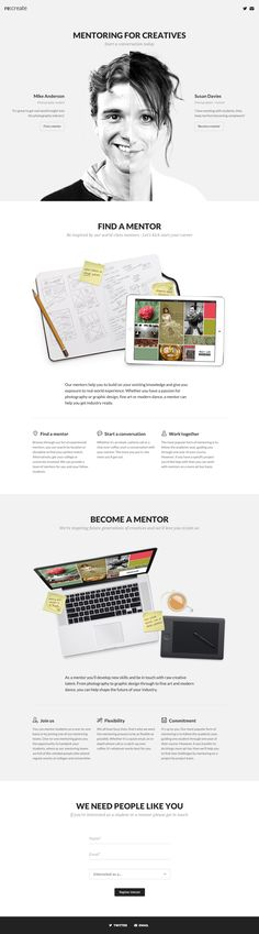 Responsive landing page for an upcoming startup aiming to connect creative students with mentors. Good clean layout with a clean example in the intro.