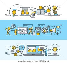 Thin line flat design banners for teamwork, business and marketing plan process, consulting, project management, client communication. Vector illustrations for web banners and promotional materials.