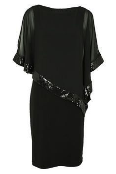 LBD   Little Black Dress   Cape style by Joseph Ribkoff. Cape Dress, Dress Up, Modelista, Haute Couture Dresses, Style Challenge, Black Cocktail Dress, Formal Wear, My Wardrobe, Boutique